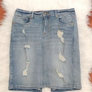 Express Distressed Jean Pencil Skirt Size 8